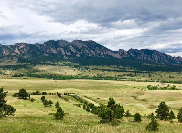 View from Superior Colorado of mountain meadow with the Boulder Flatirons in the background